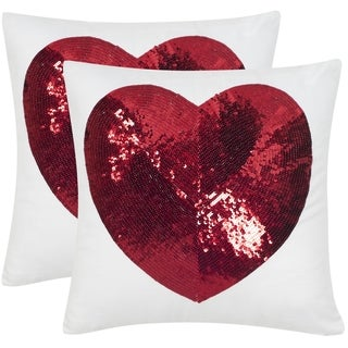 Safavieh Sweet Heart 18-Inch Red Decorative Throw Pillow (Set of 2)