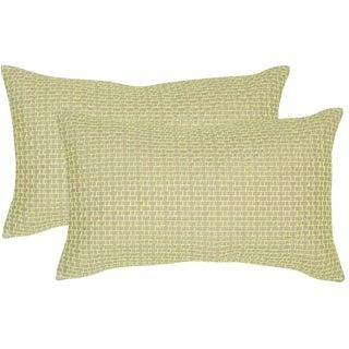 Safavieh Box Stitch 20-Inch Neon Citris Decorative Throw Pillow (Set of 2)