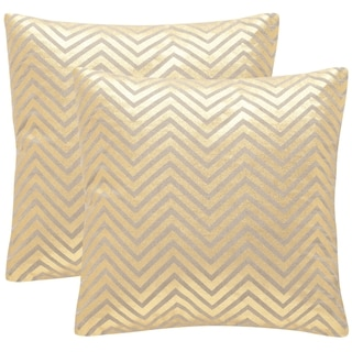 Safavieh Elle 18-Inch Gold Decorative Throw Pillow (Set of 2)