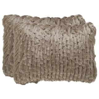 Safavieh Cali Shag 20-Inch Champagne Decorative Throw Pillow (Set of 2)