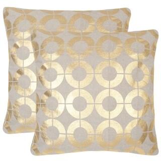 Safavieh Bailey 22-inch Gold Decorative Throw Pillow (Set of 2)