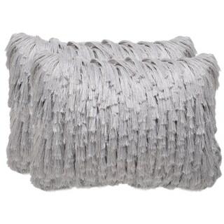 Safavieh Cali Shag 20-inch Platinum Decorative Throw Pillow (Set of 2)