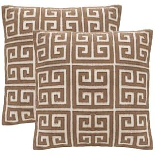 Safavieh Chy 18-Inch Natural Hemp Decorative Throw Pillow (Set of 2)