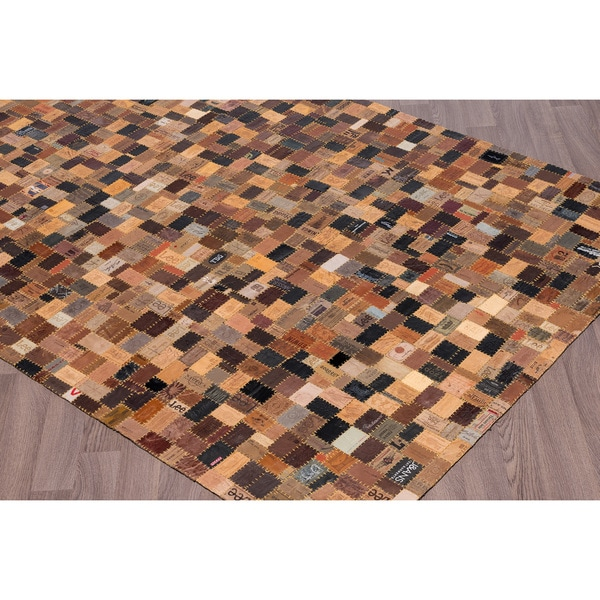 Handmade Upcycled Jean Label Leather Patchwork Rug (7'6 x 9'6)