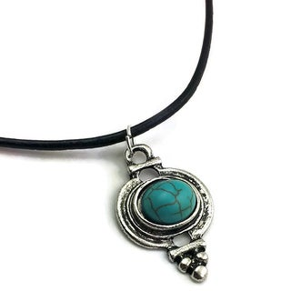 Mama Designs Handmade black Leather Western-style Turquoise Charm Necklace