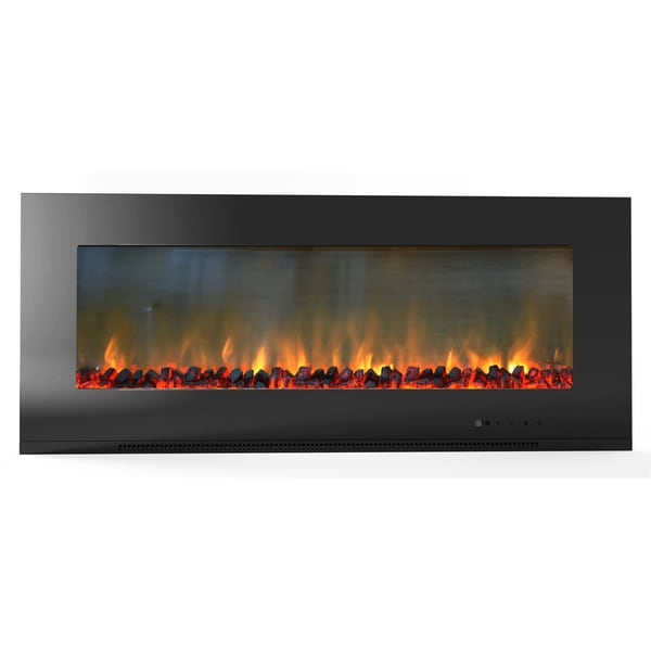 Cambridge CAM56WMEF-2BLK Metropolitan 56-inch Wall-mount Electronic Fireplace With Flat Panel and Realistic Logs
