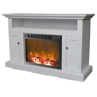 Cambridge CAM5021-2WHT Sorrento White Fireplace Mantel With Electronic Fireplace Insert