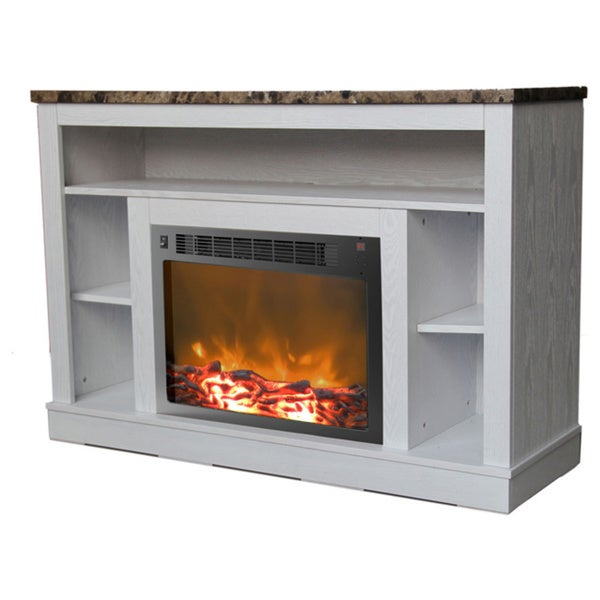Cambridge CAM5021-1WHT White Seville Fireplace Mantel With Electronic Fireplace Insert