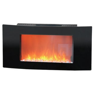 Cambridge CAM35WMEF-1BLK Callisto 35-inch Wall-mount Electronic Fireplace With Curved Panel and Cryst
