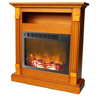 Cambridge CAM3437-1TEK Sienna Teak Fireplace Mantel With Electronic Fireplace Insert