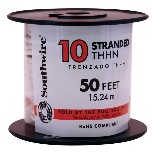 Southwire 22974036 50' 10 Gauge White Stranded THHN Wire