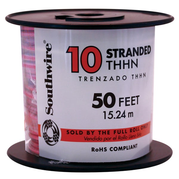 Southwire 22975736 50' 10 Gauge Red Stranded THHN Wire
