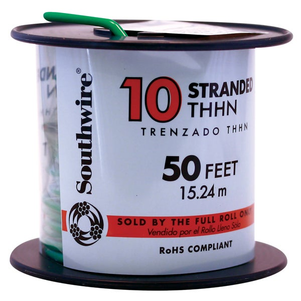 Southwire 22977336 50' 10 Gauge Green Stranded THHN Wire