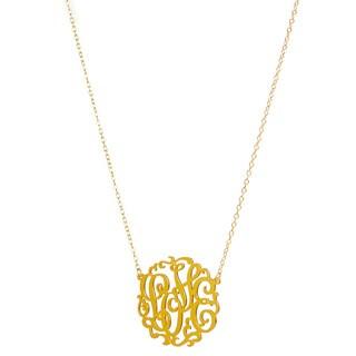 14k Gold Over Sterling Silver Love Monogram Necklace