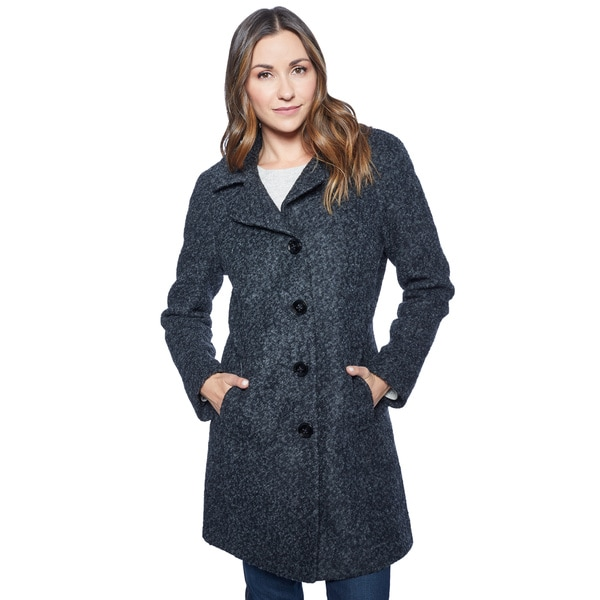 Anne Klein Women's Black Boucle Coat
