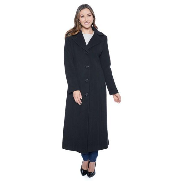 Anne Klein Women's Black Cashmere Blend Long Coat