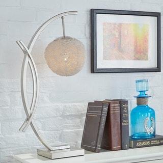 Zaida Nickel Finish Sphere Table Lamp