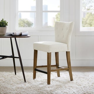 Madison Park Hayes Cream Tufted Back Counter Stool