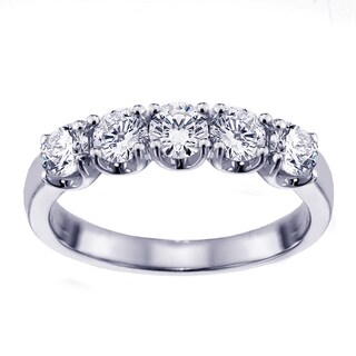 Platinum 1ct TDW Diamond Split Prong Anniversary Wedding Ring (G-H, SI1-SI2)