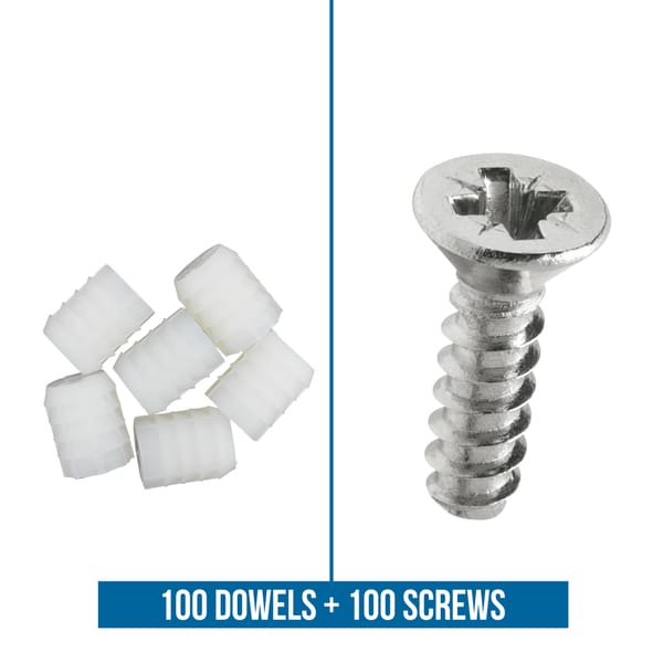 Rok Hardware Blum 8mm Plastic Dowel Inserts with Screws (Pack of 100)