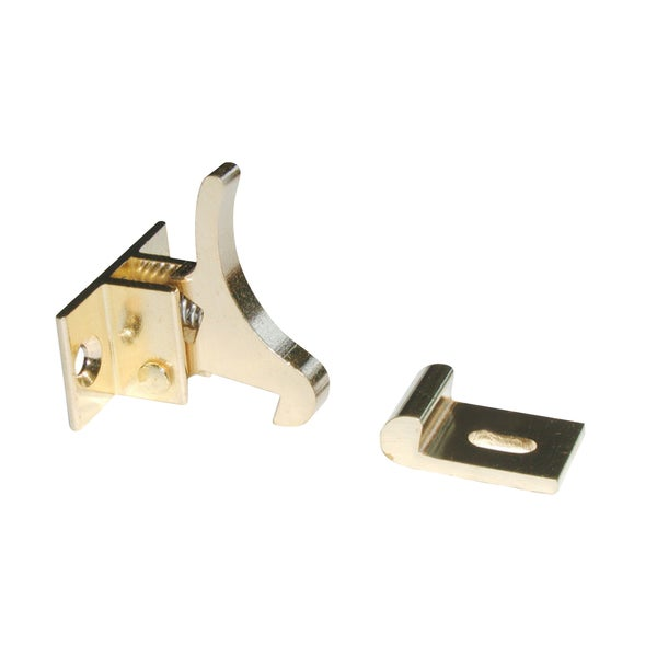 Rok Hardware Extra Heavy Duty Elbow Latch for Cabinet Door / Window Catch Brass