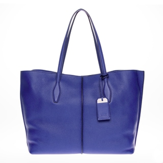 Tods Medium 'Joy' Blue Grained Leather Twin Handle Bag