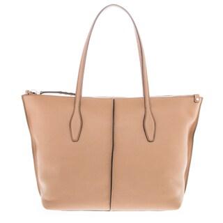 Tods Medium 'Joy' Tan Grained Leather Twin Handle Bag