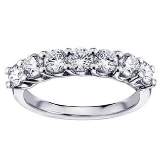 Platinum 1 1/3ct TDW Round Diamond Prong Set Wedding Band (G-H, SI1-SI2)
