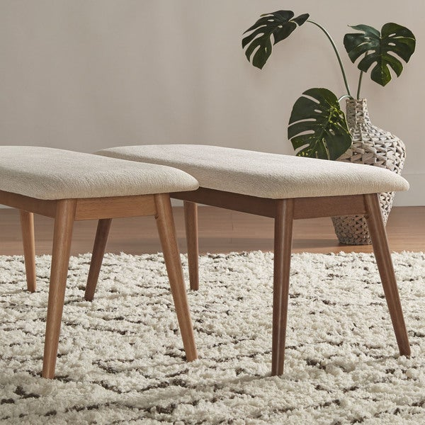 MID-CENTURY LIVING Norwegian Danish Modern Tapered Upholstered Bench