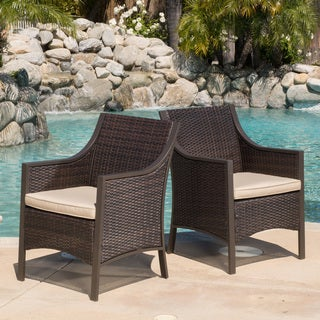 Christopher Knight Home Riga Outdoor Wicker Dining Chair with Cushion (Set of 2)