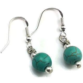 Mama Designs Handmade Sterling Silver and Turquoise Dangle Earrings