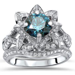 Noori 14k White Gold 2 1/5ct TDW Blue Round Diamond Lotus 2-piece Bridal Set (G-H, SI1-SI2)