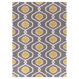 Moraccan Trellis Modern Grey/Yellow Area Rug (5'3 x 7'3)