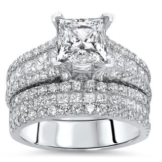 Noori 14k White Gold 3 1/3ct TDW Enhanced Princess-cut Diamond 2-piece Bridal Set (F-G, SI1-SI2)
