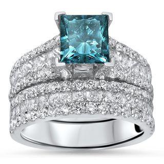 Noori 14k White Gold 3 5/8ct TDW Blue Princess-cut Diamond 2-piece Bridal Set (F-G, SI1-SI2)