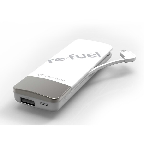 Digipower JS-450L-WHT White Battery Pack W/Built In Lightning Cable and USB Port