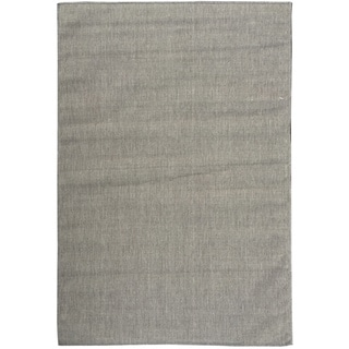 Berrnour Home Summer Collection Solid Design Jute Backing Indoor / Outdoor Runner Rug (5'3 x 7'3)