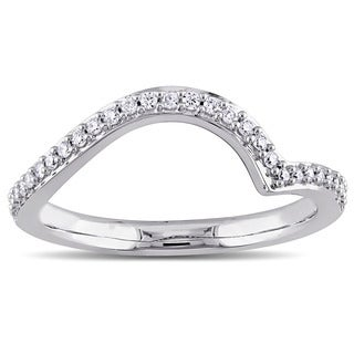 Miadora 14k White Gold 1/6ct TDW Diamond Contour Wedding Band (G-H, I1-I2)