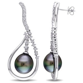 Miadora Signature Collection 14k White Gold Tahitian Pearl and 1ct TDW Diamond Teardrop Earrings (G-H, SI1-SI2)(11-11.5 mm)