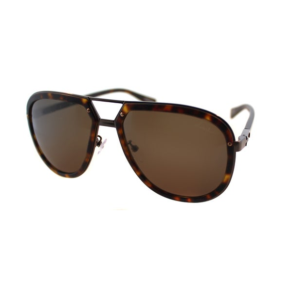 Lanvin SLN 044 0448 Matte Havana And Antiqued Bronze Plastic Brown Lens Aviator Sunglasses