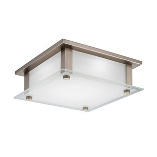 Lithonia Lighting Rao Silver Brushed Nickel Steel and Glass 10-Inch 3000K LED Flush Mount
