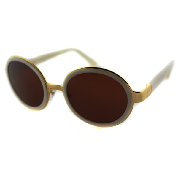 Super Santa Tintarella 0TK Off-White And Gold Round Brown Lens Sunglasses
