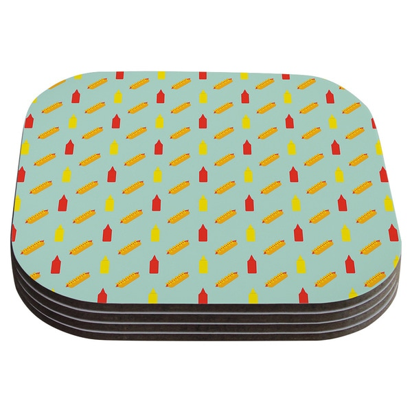 Will Wild 'Hot Dog Pattern II' Food Coasters (Set of 4)