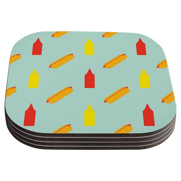 Will Wild 'Hot Dog Pattern' Food Coasters (Set of 4)