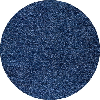 M.A.Trading Indo Hand-woven Shanghai Mix Blue Rug (3' Round)