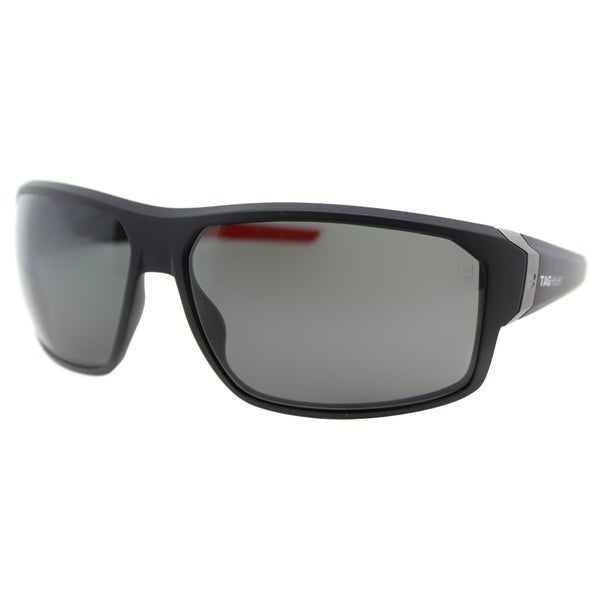 TAG Heuer TAG Racer 9223 901 Matte Black And Red Plastic Sport Grey Polarized Lens Sunglasses