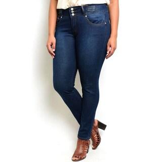 Shop the Trends Women's Plus Size Indigo Wash Denim Pants