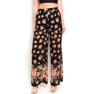 Shop the Trends Women's Multicolored Floral-print High-waist Pants