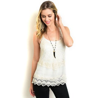 Shop the Trends Women's Sleeveless Sheer Top With Scooped Neckline and Lace Details