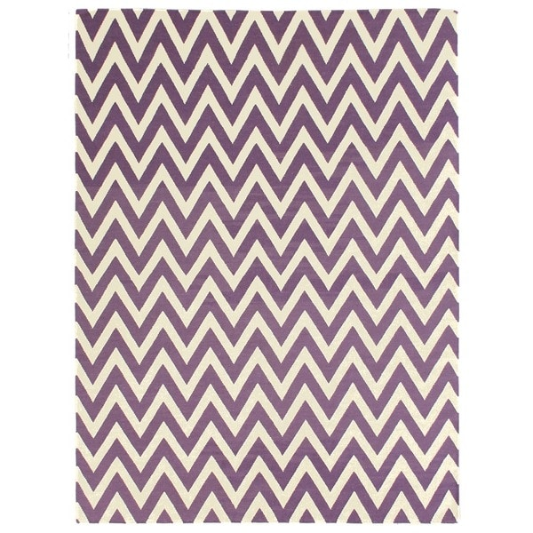 ZigZag Flatweave Purple New Zealand Wool Rug (8' x 11')